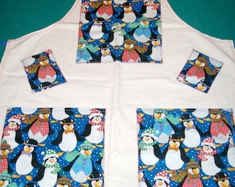 Penguin Apron - Holiday Glitter Penguins Apron - 2 Pocket Apron - Large Apron - Chirstmas Apron - Baking Apron - Cooking Apron - Fun Apron