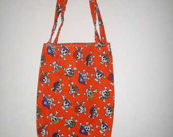 Pirate Skulls Tote Bag - Trick or Treat Candy Bag - Halloween Tote Bag - Pirates Bag - Skulls and Crossbones - Kids Candy Bag
