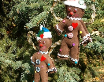 Gingerbread Men Ornaments - Set Of Gingerbread Man Ornaments - Gingerbread Man - Gingerbread Girl - Christmas Ornaments - Grapevine Wings