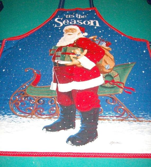 Apron Tis The Season Santa and Sleigh 1 Pocket