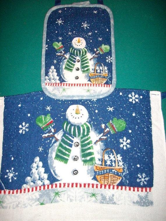 Toddler Towel Apron - Toddler Dish Towel Apron - Toddler Art Smock - Toddler Bib - Snowman Dish Towel Apron - Snowman Apron - Winter Apron