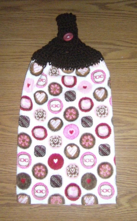 Towel Pink Chocolate Crocheted Top Hanging Kitchen Towel
