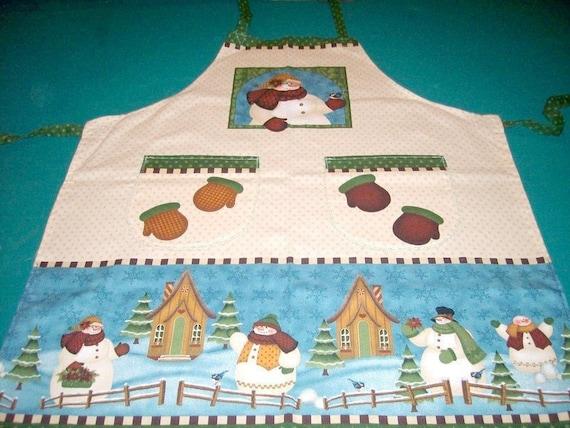 Snowman Apron - Snowman Art Smock - Blue Bird - Tiny Houses - Winter Themed Apron - Full Apron - 2 Pocket Apron - Mittens