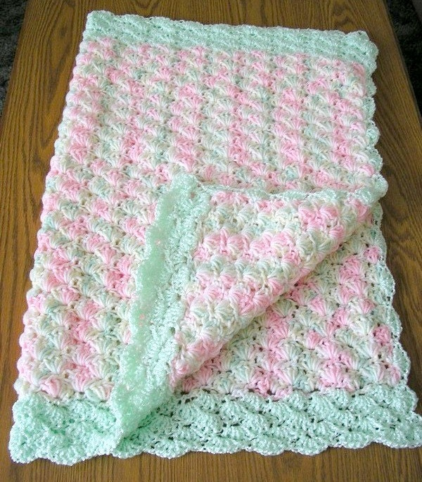 Crochet Pattern For Lap Afghan : Crochet Baby Afghan Lap Blanket Sea Foam by CarriesCraftStore