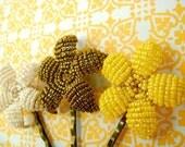 Sun Flower Trio - Beaded Flower Bobby Pins - Ododo Originals