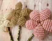 Flower Bobby Pins -Sweet Pea Flower Trio -  Ododo Originals