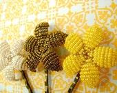 Set of 3 Beaded Flower Bobby Pins - Sun Flower Trio - Ododo Originals