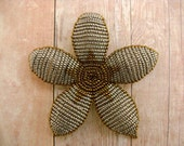 Beaded Hair Clip or Brooch - Antique Silver and Bronze Art Deco Style Beaded Flower - Ododo Originals