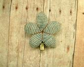 Beaded Flower Hair Clip Light Gray - Ododo Originals