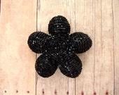 Hair Clip or Brooch Pin Beaded Flower  - Solid Black - Ododo Originals Bauble