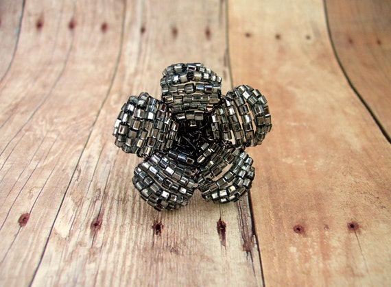 Beaded Flower Ring  - Black Crystal  Floral Cocktail Ring - Ododo Originals Beadwork