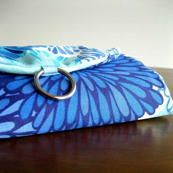 LAST ONE this fabric - Travel Jewelry Organizer Clutch - Modern Mums in Blue Aqua Navy Turquoise