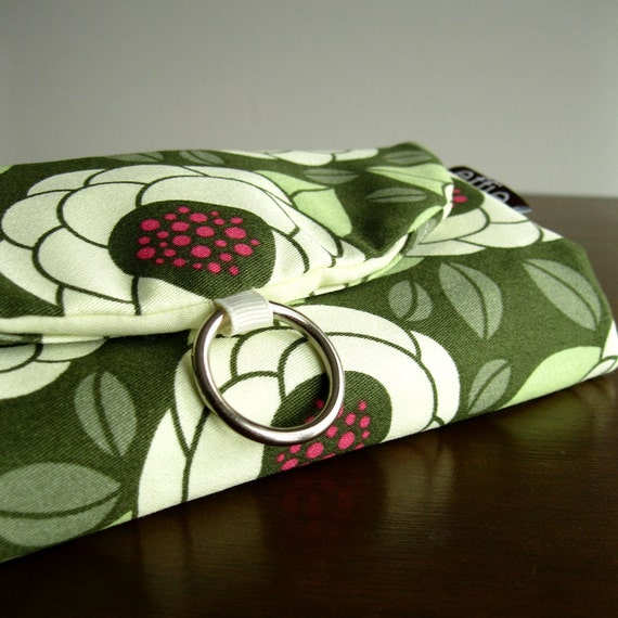 Travel Jewelry Organizer Clutch - Modern Blooms in Green and Cream