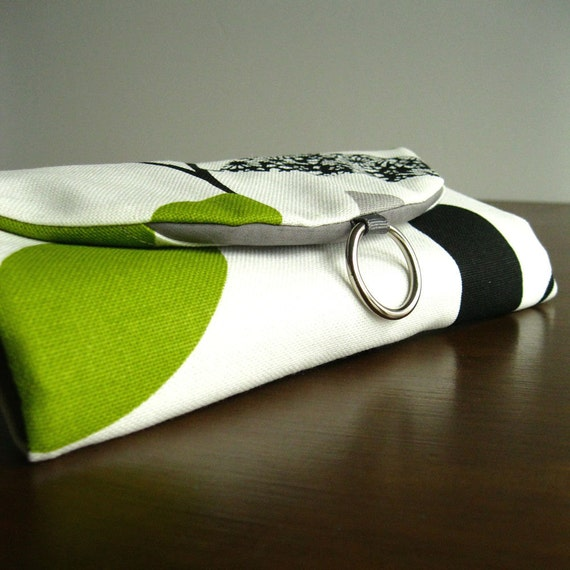 Travel Jewelry Organizer Clutch - White with Grey and Green Modern Leaves