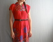 70's dress / tropical red dress / S M