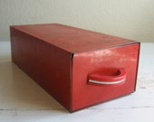 rustic recipe drawer / red metal
