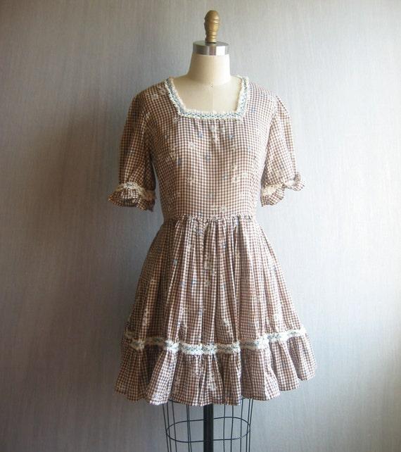 vintage gingham dress / brown white swing dance / s-m