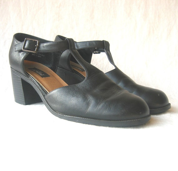 vintage shoes / t-strap chunky heel / US 8.5