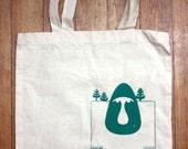 Screen printed cotton tote bag - Troll illustration