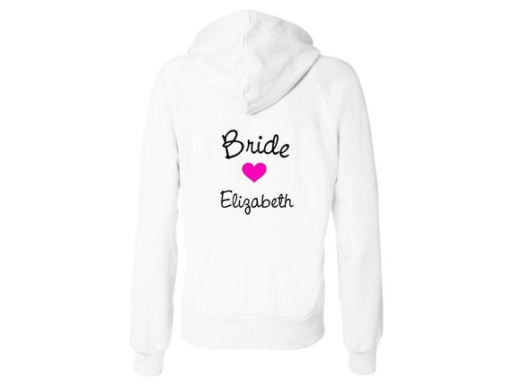 CUSTOM BRIDE Fleece Zip Up WhiteHoodie - You choose print color and text