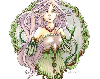 Drawing 'Swamp girl II', Original, 8.5x12