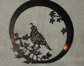 Quail in Ivy- Metal Wall Hanging- Suitable for Interior or Exterior