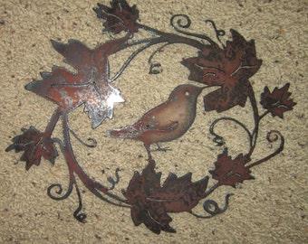 Metal Art-Bird in the Vineyard- Metal Art/Wreath
