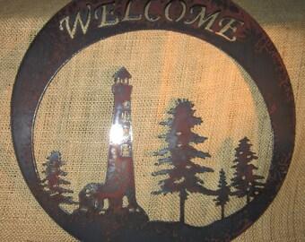 Lighthouse Welcome-Metal Art-Welcome Sign-Nautical-Seashore