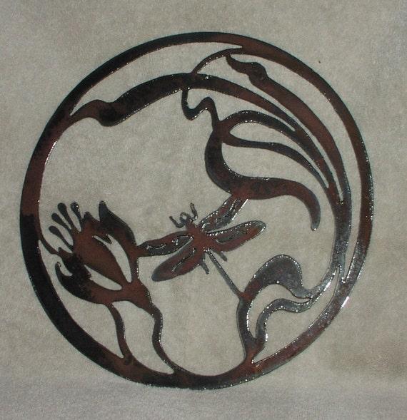 Dragonfly Metal Wall Art dragonfly in lotus flower metal garden/wall art suitable