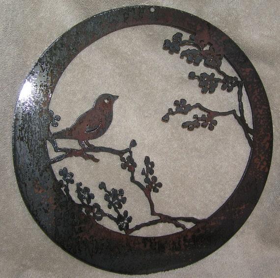 Wren in the Apple Tree-metal art