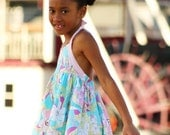 Girls pink blue lace Halter Dress & Pants set -Made to Order 12M- 7 years - WISH BLEU