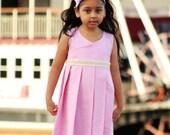 Girls clothing Girls Dress Linen Dress Pleated  Dress - SHIRLEY- 12M 18M 24m 2t 3t 4t 5t 6 6x 7