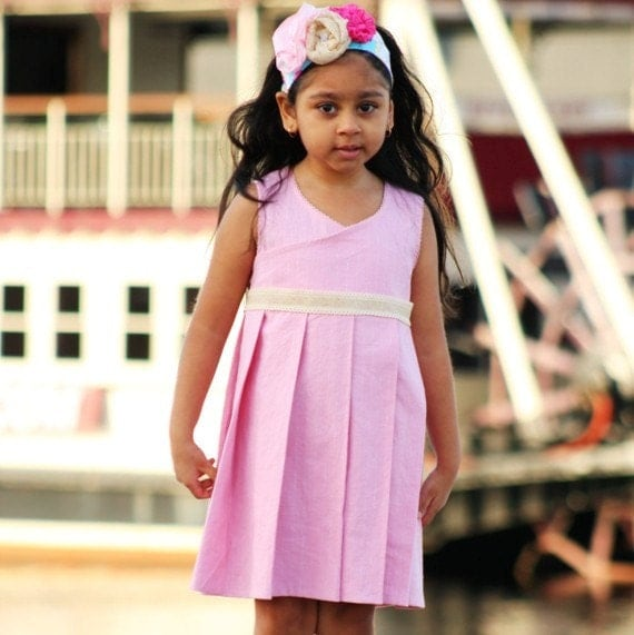 Girls clothing Girls Dress Linen Dress Pleated  Dress - SHIRLEY- 12M 18M 24m 2t 3t 4t 5t 6 6x 7