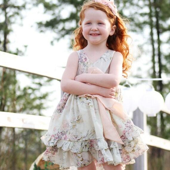 Flower Girl Dress, Girls Silk Ruffled Party Dress Made to order 12M, 18M, 2t, 3t-10 years - Terra