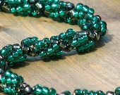 Emerald and Black Beadwoven Necklace (108)
