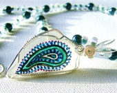 Paisley Passion Painted Seaglass and Sterling Silver Pendant Slide