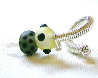 Formal Spiral Sterling Silver Lampwork Glass Single 6.5 Gauged Earring
