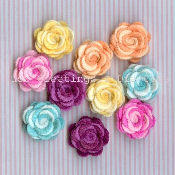 Rolled Roses - Wool/Rayon Felt - Set of 10 Mini-Flowers - Two Tone Rosettes
