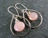 Pink Stone Earrings with Sterling Silver - Teardrop Hoop Earrings - Everyday Earrings