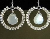 Freshwater Pearl and White Moonstone Hoop Earrings