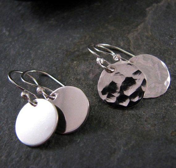 Small Hammered Earrings - Minimalist Silver Disc Earrings - Small Everyday Earrings - Gift for Her - Smooth or Hammered 925 Sterling Silver
