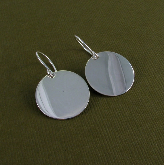 Sterling Silver Disc Disk Earrings - Medium - Smooth Finish