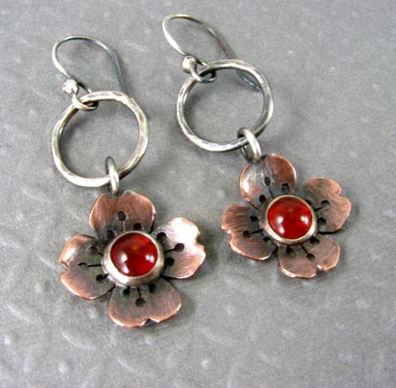 Sakura Flower Earrings - Cherry Blossom Earrings - Carnelian Stone - Copper Earrings - Mixed Metal