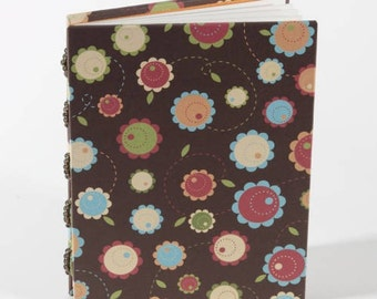Handmade flower journal notebook, unlined, gift under 15
