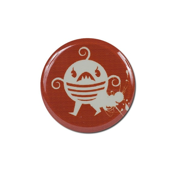 Red pinback button, little creature button, quirky button