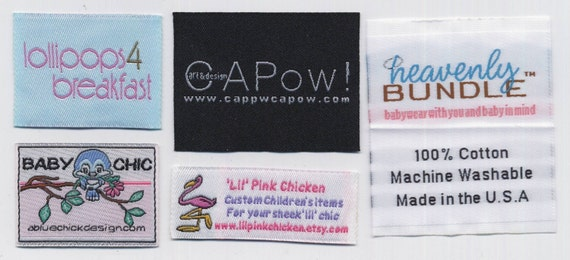 300 Custom Woven Artwork Clothing Labels (fold designs if needed) free font styles for Garment boutique - colors never fade - will be finished by professional quality control - All Woven Labels are supplied by USA Vendor - any questions Call 718-717-2228