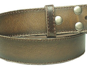 "Distressed Leather Belt Strap - Brown Snap On Removable - 1.5"" 38mm  - Mens Womens - 30 32 34 36 38 40 42 44 46 2xl xxl - 25+ STYLES AVAIL"