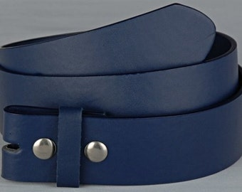 """Dark Blue Belt Strap - Snap On Removable Style - 1.5"""" 38mm Width - Mens Womens Interchangeable Belt - 25+ OTHER Colors STYLES AVAILABLE"""