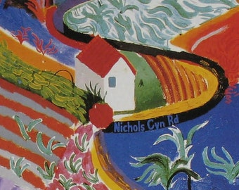Nichols Canyon Road Hollywood Hills CA - Book Plate Art Print - MMA Exhibit Poster Reprint - Colorful Contemporary Landscape -Hockney Calif