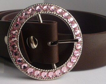 Women's Custom Belt Buckle- Pick Your Swarovski Crystal Color- Light Rose Pink Rhinestones Shown- Many Choices Available - Genuine Swarovski